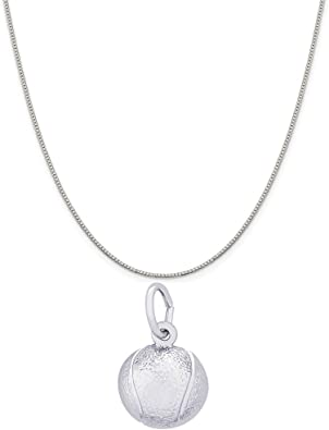 18 or 20 inch Rope Rembrandt Charms Sterling Silver Racquet Charm on a 16 Box or Curb Chain Necklace