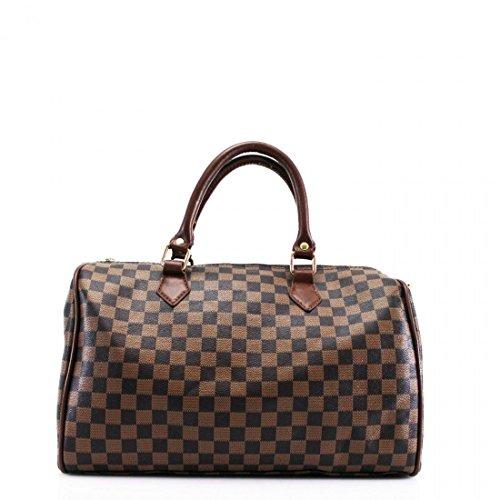 Ladies Women Duffel Checkered Handbag Barrel Shape Shoulder Bag (Brown), Small