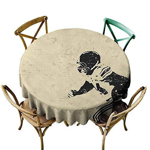 Waterproof Table Cover Sports Rugby Player in Action Running Success in Arena Playground Sport Best Team Picture Beige Black for Events Party Restaurant Dining Table Cover 43 INCH