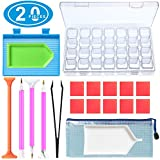 INFELING Diamond Painting Tools 20 Pieces DIY 5D Diamond Painting Accessories Cross Stitch Kits with 28 Slots Diamond Embroidery Box for DIY Art Craft