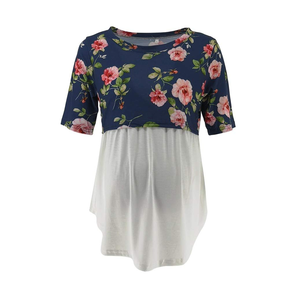 Maternity T Shirts Black,Women's Pregnancy Short Sleeve Splicing Floral Print T-Shirt Nursing Baby Top,Maternity Intimate Apparel,0.774245249009967,Gray