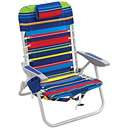 Rio Beach Lace-up Aluminum Backpack Chair, Red/Blue/Green/Yellow Stripe