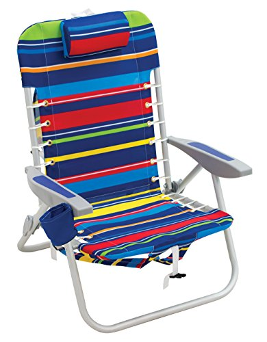 - Rio Beach Lace-up Aluminum Backpack Chair, Red/Blue/Green/Yellow Stripe