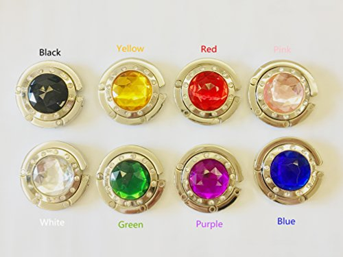 Zungtin 8 pcs Colorful Purse Hooks Crystal Diamond Folding Storage Handbag (Crystal Purse Hook)