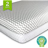 Ziggy Baby Jersey Cotton Pack N Play Sheet Set, Grey/White, 2 Pack