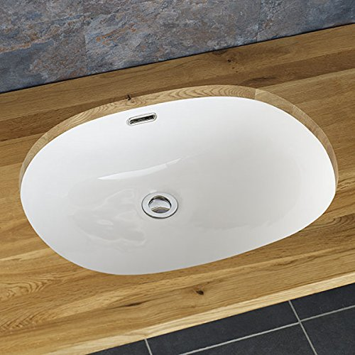 Clickbasin Silves 53.5cm By 41.0cm Oval Undercounter Inset Ceramic Washbasin