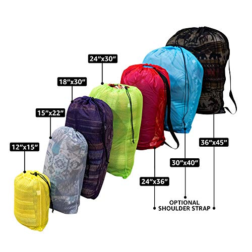 SGT KNOTS Mesh Bag (Large) 550 Paracord Drawstring Bag - Ventilated Washable Reusable Sack for Laundry, Gym Clothes, Swimming, Camping, Diving, Travel (36 in x 45 in, Black)