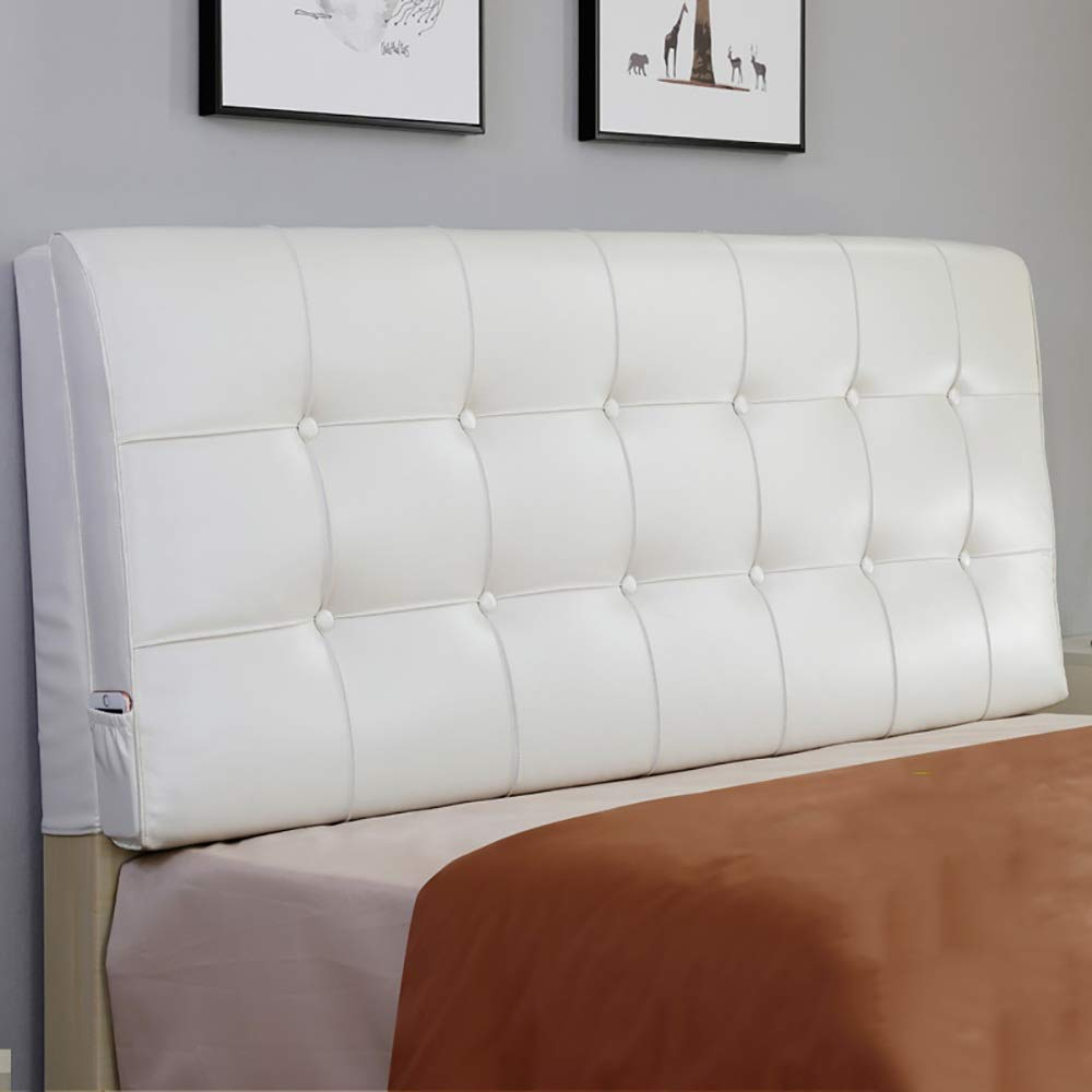2 Installation Methods 6 Colors LXLIGHTS Headboard Bedside Cushion Backrest Waist Pad Bed Wedge Sofa Pillow Bay Window Color : White, Size : No headboard-120cm 6 Sizes