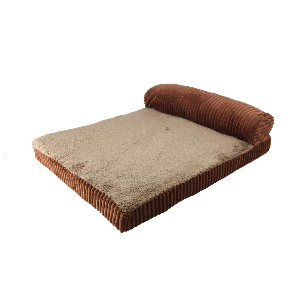 BROWN M BROWN M FERZA petsuppliesmisc Memory Foam Dog Sofa Bed Premium Corduroy and Smooth Velveteen Fabric Detachable and Washable (color   BROWN, Size   M)