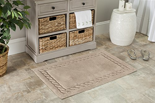 Safavieh Plush Master Bath Collection PMB640B Handmade Linen Cotton Bath Mat, 1 feet 9 inches by 2 feet 10 inches (1'9 x 2'10) (Set of 2)