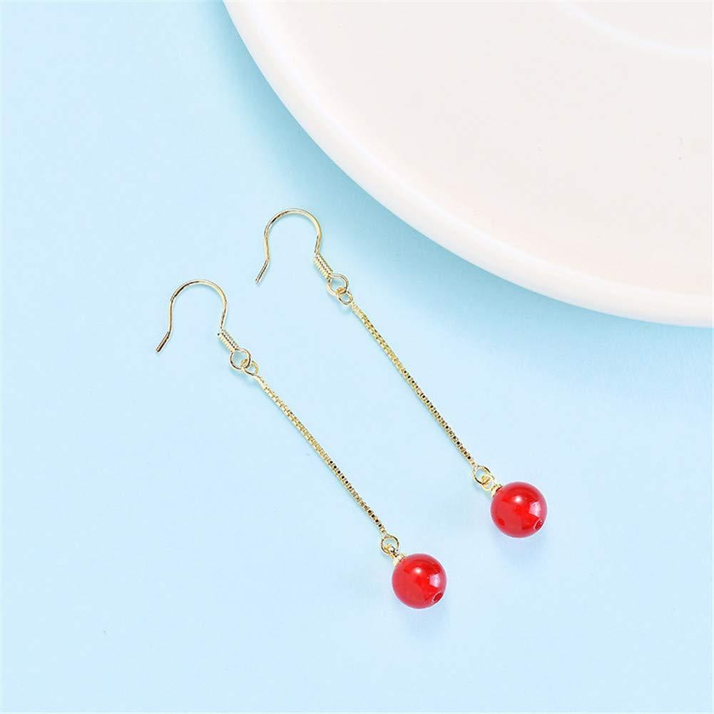 Fashion Natural Strawberry Crystal Dangle Earring Silver Long Chain Drop Earrings For Women Girls Gift