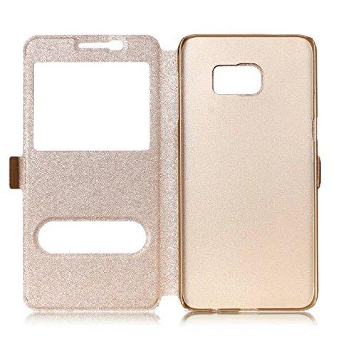 Carcasas y fundas Móviles, Para Samsung Galaxy S7 Edge, color sólido cuero de la PU con soporte doble ventana abierta caso de seda patrón de protección para Samsung Galaxy S7 Edge (responder o rechaza Gold