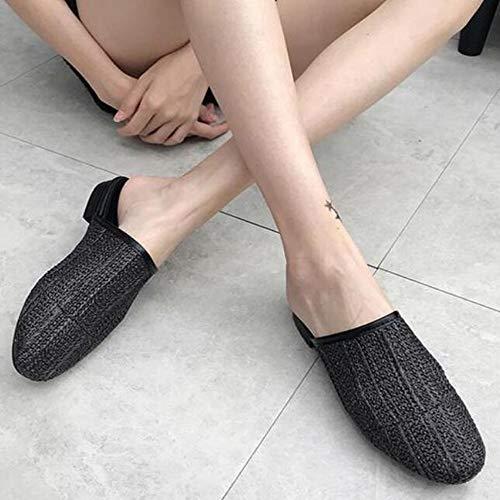 Weben und Hausschuhe Hausschuhe Black Kleine Schuhe Herbst Sandalen Halbschuhe Hausschuhe Mode Mit Dicke Hausschuhe Casual qHqFIw