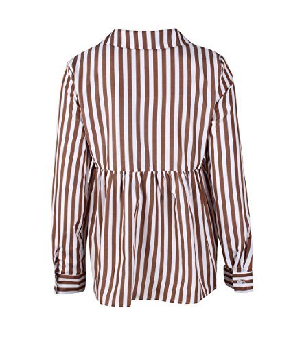 Shirt Manches T Chemisiers Printemps Shirts Fashion Kaki Tee Casual Haut Longues Tops Revers Femme Automne Blouse Raye Legendaryman et w0v4ZPZq