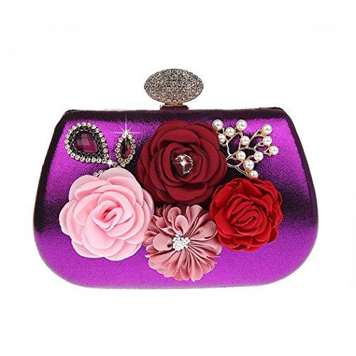 Floral Sera Viola Frizioni Sacchetto Ankoee design Diamante Borsa Borsetta Argento Donna Portafoglio Borsa Da Pochette x4gY1agv