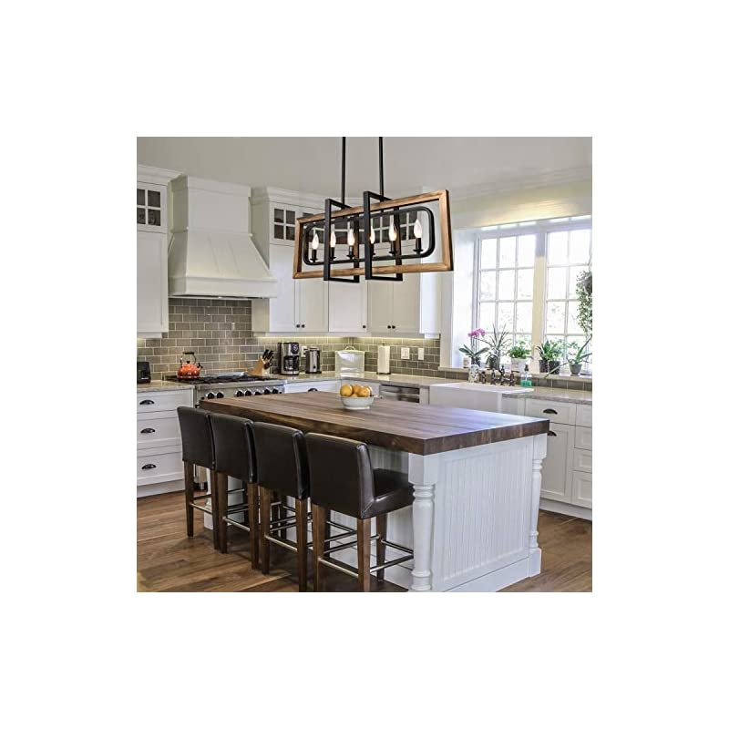 Lingkai Farmhouse Chandelier Rustic, 6 Lights Kitchen Island Light Fiture, Industrial Pendant Lighting Fixtures Wood and…