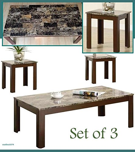 Modern Style Coffee Table and End Table Faux Marble Top Set 3 Pieces, Living Room Furniture Decor
