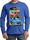 Kids Dodge Challenger Trio Youth Long Sleeve Shirt, Royal, Medium