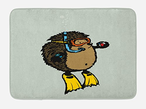Ambesonne Animal Bath Mat, Cartoon Scuba Diver Hedgehog Cute Illustration for Kids Funny Sea Life, Plush Bathroom Decor Mat with Non Slip Backing, 29.5 W X 17.5 W Inches, Baby Blue Yellow Brown by Ambesonne