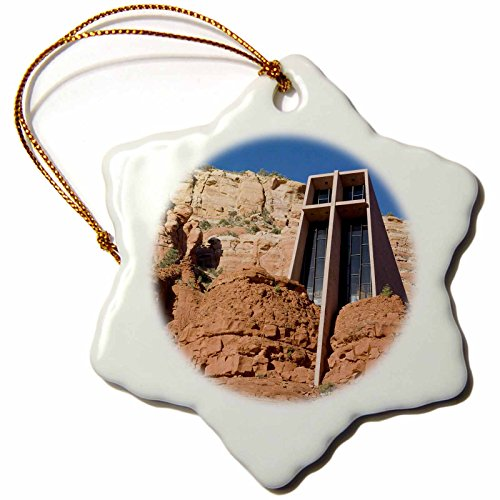 3dRose orn_87974_1 Arizona, Sedona, Chapel of The Holy Cross US03 JWI0214 Jamie and Judy Wild Snowflake Porcelain Ornament, 3-Inch by 3dRose