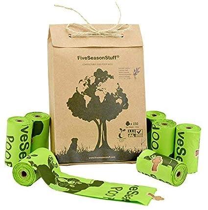 FiveSeasonStuff Leak Proof Bolsas para Excremento de Perro, 100% Biodegradable y compostable en 3-5 Meses 10 Rollos (150 Bolsas) con Olor a Lavanda