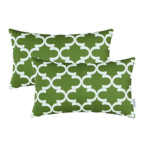 Pack of 2 CaliTime Bolster Pillow Covers 12 X 20 Inches, Quatrefoil Accent Geometric, Olive Green (Olive Green Sofa)