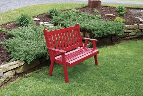 Classic Outdoor 6 Foot Traditional English Garden Bench - Painted- Amish Made USA -Tractor Red