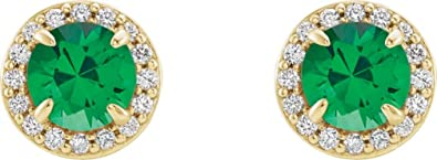 19756d582 Chatham Created Emerald and Diamond Halo-Style Earrings, 14k Yellow Gold (4  MM