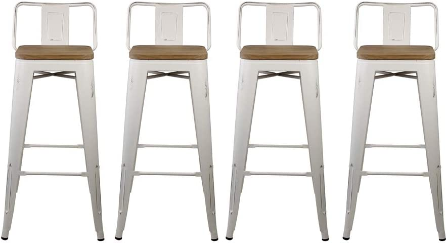 Amazon Com Gia 30 Inch Low Back Stool With Wooden Seat White Light Wood 4 Pack Furniture Decor