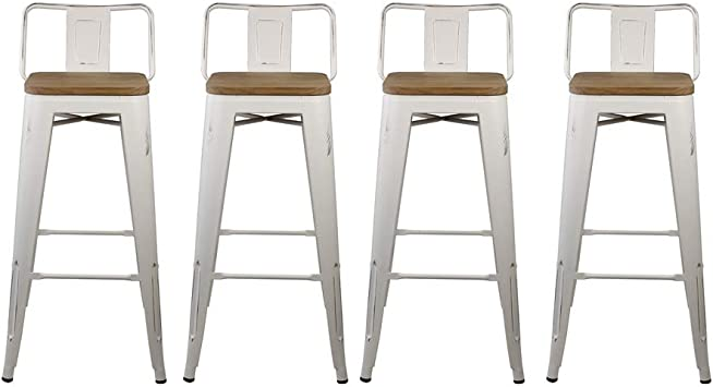 Gia 30 Inch Low Back Stool With Wooden Seat White Light Wood 4 Pack