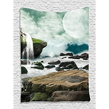 Tapestry Waterfall and Full Moon Tapestry Wall Hanging Wall 60 x 80 inches Living Room / Bedroom / Dorm Decor - One of a Kind - Machine Washable, Green White Teal Brown