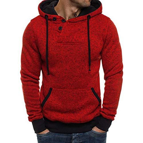 - HYIRI Long Sleeve Hooded Sweatshirt,Mens Pure Color Pullover Tops Blouse