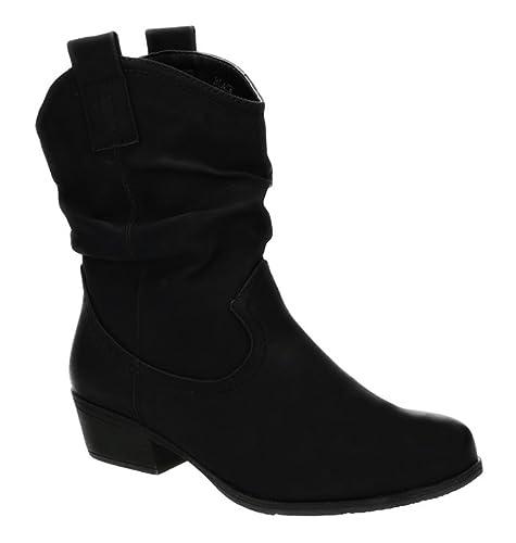 King Of Shoes Damen Stiefeletten Cowboy Boots mit Blockabsatz