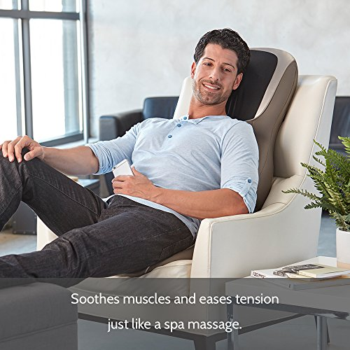 Perfect Touch Masseuse Heated Massage Cushion | App Controlled, Adjustable Height, 4 Massage Styles | Relief for Back, Shoulder & Neck | Shiatsu, Rolling, Percussion, or Combination Massage | HoMedics