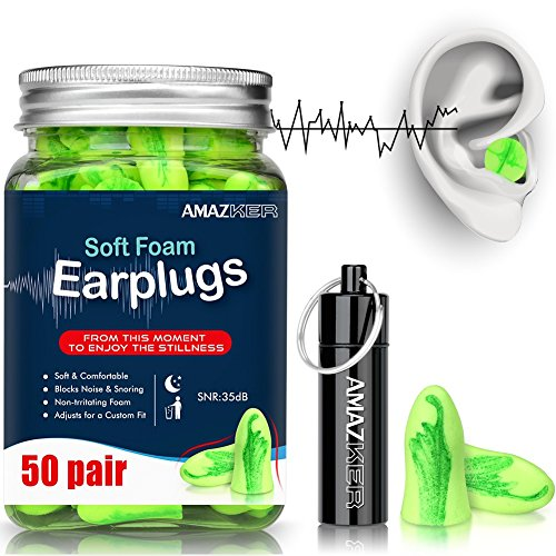 Ear Plugs AMAZKER Bell-Shaped Ultra Soft Earplugs Perfect For Sleeping Snoring Working Study Travel With Aluminum Carry Case No Cords Noise Reduction SNR 35dB 50 Pairs(AM-1006) by AMAZKER