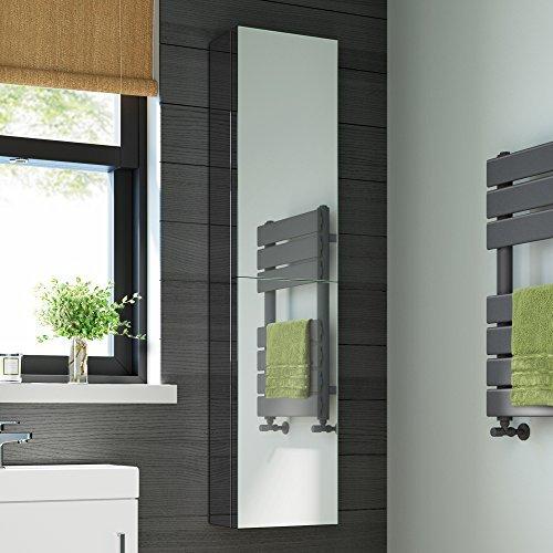 1300 x 300 Tall Stainless Steel Bathroom Mirror Cabinet Double Door Storage Unit MC123 iBathUK
