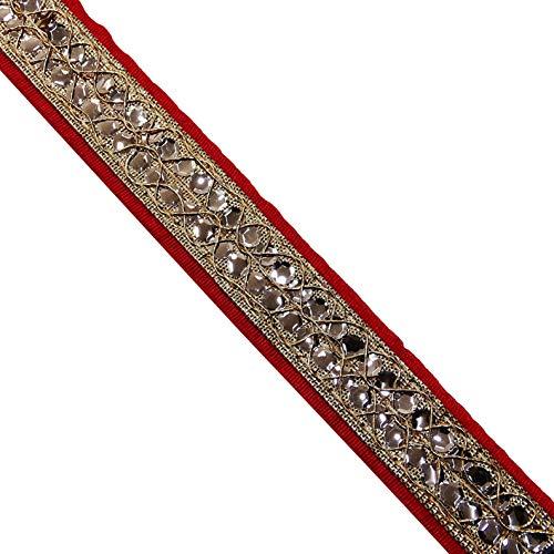 (Gatton 9 Yard Embroidered Trim ding Dress Handmade Red Cloth Décor Saree Border Lace Bridal Decor Metallic Thread Trim Home Craft Supply   Model WDDNG - 647   0.7)