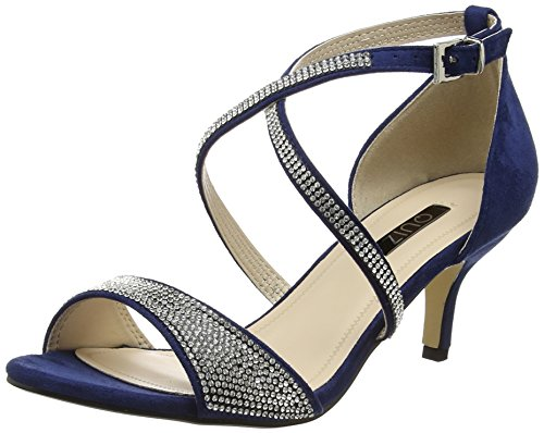 Suede Navy Quiz Peep Damen Low Diamante Faux Silver Sandals Heel Toe And Blau qxAxOftH