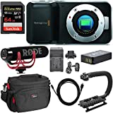 Blackmagic Pocket Cinema Mirrorless Camera, Rode Video Mic GO, SanDisk 64GB Extreme Memory Card, DSLR Camera Bag, Professional Video Grip, Replacement Battery, Battery Charger and Accessory Bundle