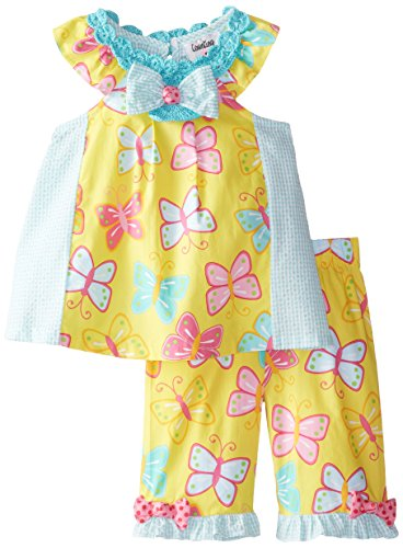 Rare Editions Baby Baby Girls' Butterfly Print Seersucker Capri Set, Yellow/Mint, 18 Months ()