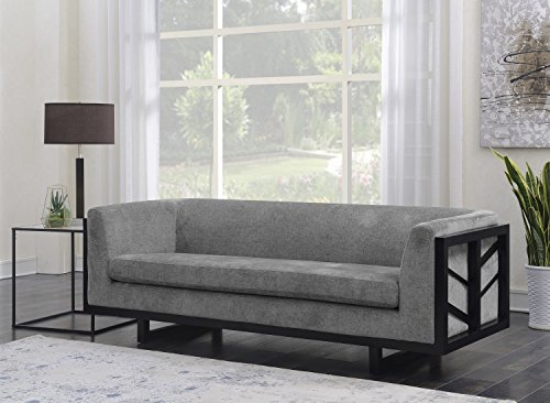 Iconic Home Arianna Sofa Linen-Textured Upholstery Espresso Finished Lattice Wood Frame, Modern Transitional, Grey