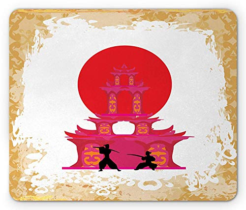 Japanese Mouse Pad, Medieval Landscape at Sunset in Front of Temple Asian Culture Illustarion, Standard Size Rectangle Non-Slip Rubber Mousepad, Red Yellow White