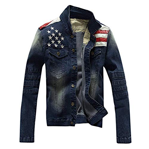 BIRAN Washed Denim Water Coat Breasted Jeans Blue Flag Denim Mens Chaquetas Único American Single Sleeve Denim Coats Blue Long FFAKyc