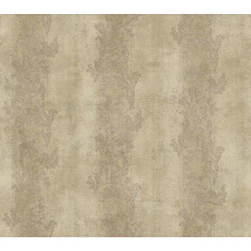 York Wallcoverings GF0815 Gold Leaf Acanthus Stripe Wallpaper, Dark Beige Pearl, Purplish/Brown
