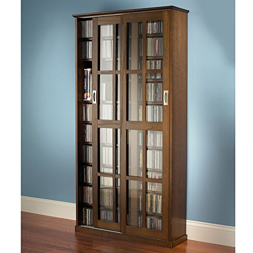 Library Cd Storage - Hammacher Schlemmer The Sliding Door 666 CD/300 DVD Library (Walnut)