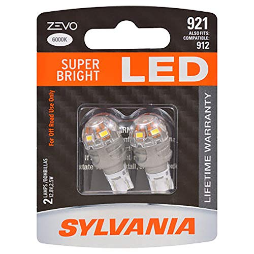 SYLVANIA - 921 T-16 W16W ZEVO LED White Bulb - Bright LED Bulb, Ideal for Interior Lighting - Map, Dome, Trunk, Cargo and License Plate (Contains 2 Bulbs)