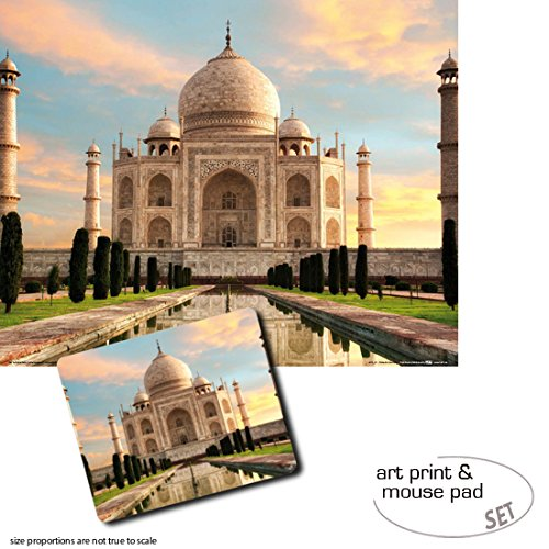 1art1 Taj Mahal, The Crown of Palaces in The Morning Sun 1 Poster Art Print (20x16 inches) + 1 Mouse Pad (9x7 inches) Gift Set