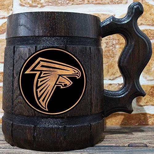 Beer Personalized Nfl - Atlanta Falcons Beer Mug, American Football Wooden Beer Stein, NFL Sport Gift, Personalized Beer Stein, Atlanta Falcons Tankard, Custom Gift for Men, Gift for Him