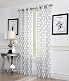 White and Grey Curtains 2 Piece GEO Flocked Sheer Grommet Window Curtain Panels 38