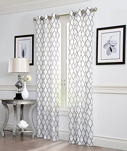 - 2 Piece GEO Flocked Sheer Grommet Window Curtain Panels 38